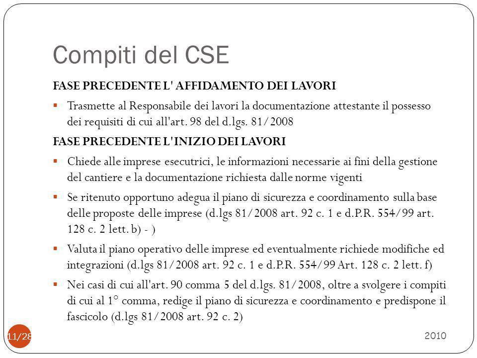 Compiti del CSE 2010 11/28 FASE PRECEDENTE L' AFFIDAMENTO DEI LAVORI  Trasmette al Responsabile dei lavori la documentazione attestante il possesso d