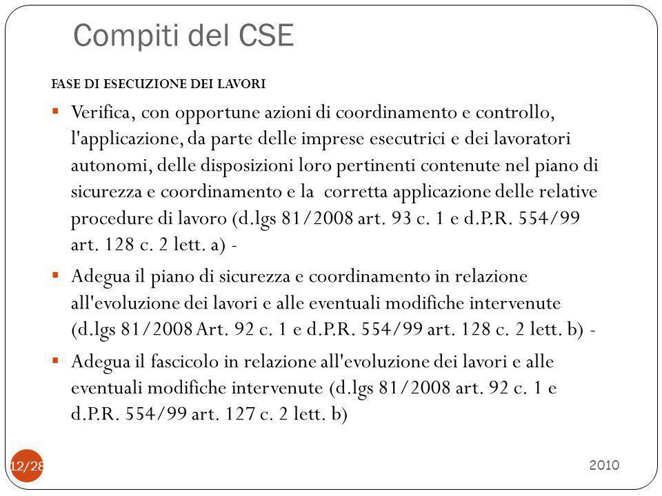 Compiti del CSE 2010 12/28 FASE DI ESECUZIONE DEI LAVORI  Verifica, con opportune azioni di coordinamento e controllo, l'applicazione, da parte delle