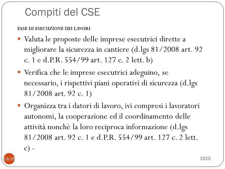 Compiti del CSE 2010 13/28 FASE DI ESECUZIONE DEI LAVORI  Valuta le proposte delle imprese esecutrici dirette a migliorare la sicurezza in cantiere (