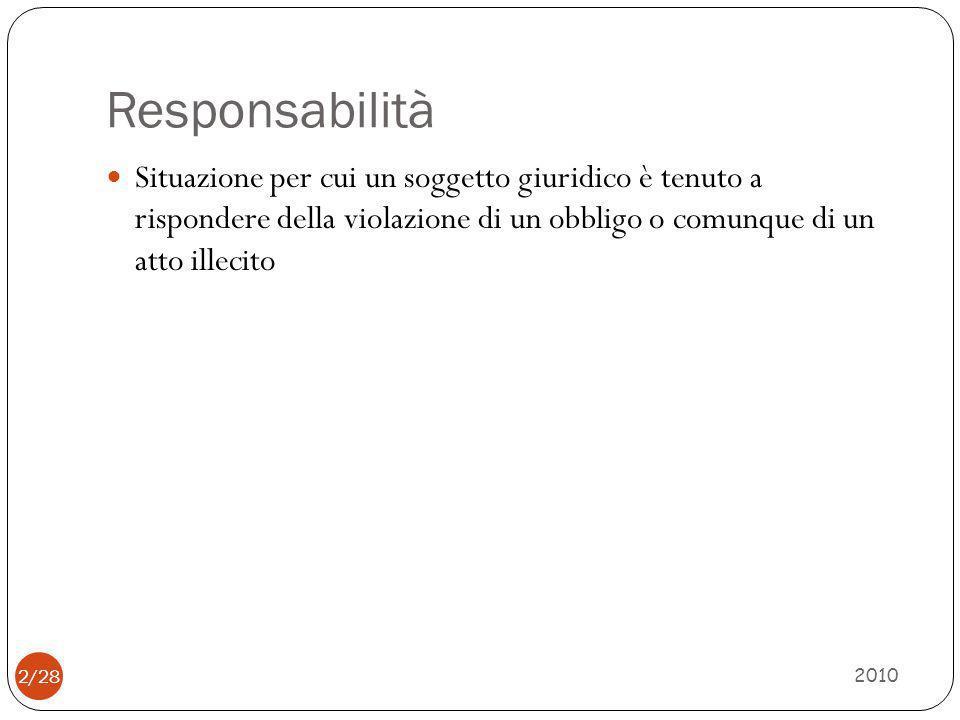 Responsabilità 2010 2/28 Situazione per cui un soggetto giuridico è tenuto a rispondere della violazione di un obbligo o comunque di un atto illecito