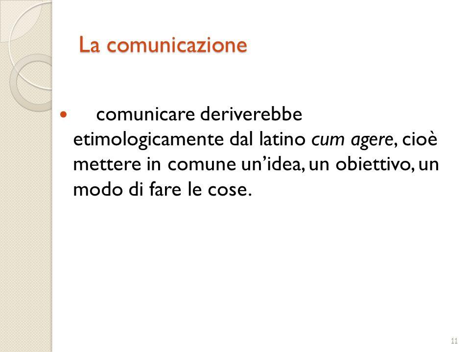11 La comunicazione comunicare deriverebbe etimologicamente dal latino cum agere, cioè mettere in comune un'idea, un obiettivo, un modo di fare le cose.