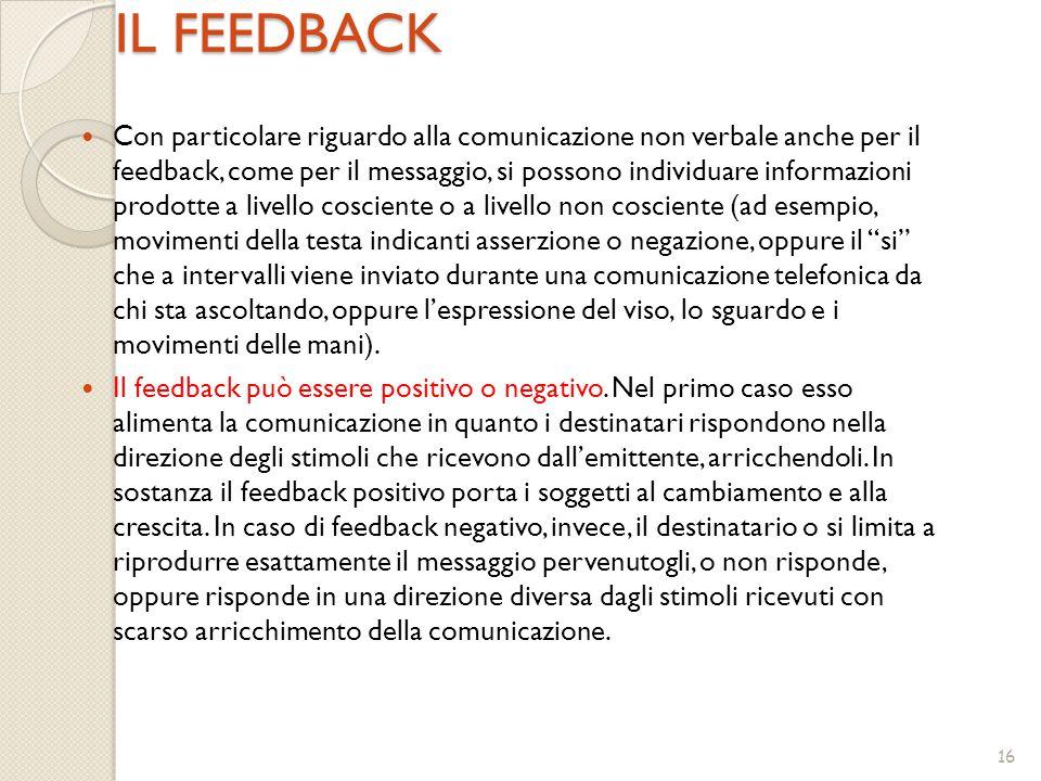 16 IL FEEDBACK Con particolare riguardo alla comunicazione non verbale anche per il feedback, come per il messaggio, si possono individuare informazio
