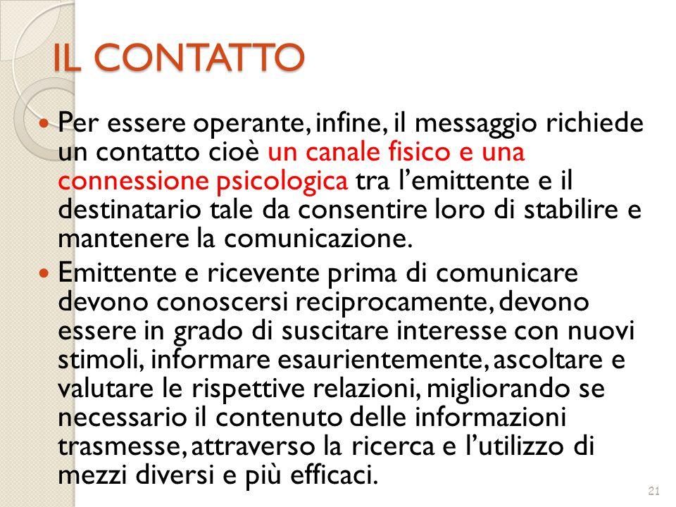 21 IL CONTATTO Per essere operante, infine, il messaggio richiede un contatto cioè un canale fisico e una connessione psicologica tra l'emittente e il destinatario tale da consentire loro di stabilire e mantenere la comunicazione.