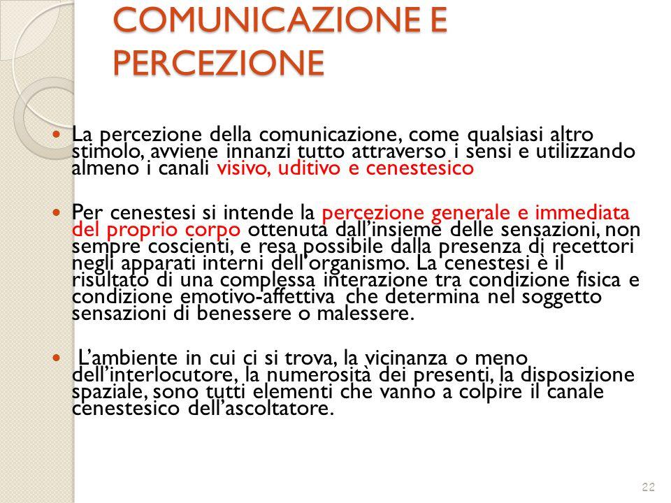 22 COMUNICAZIONE E PERCEZIONE COMUNICAZIONE E PERCEZIONE La percezione della comunicazione, come qualsiasi altro stimolo, avviene innanzi tutto attrav