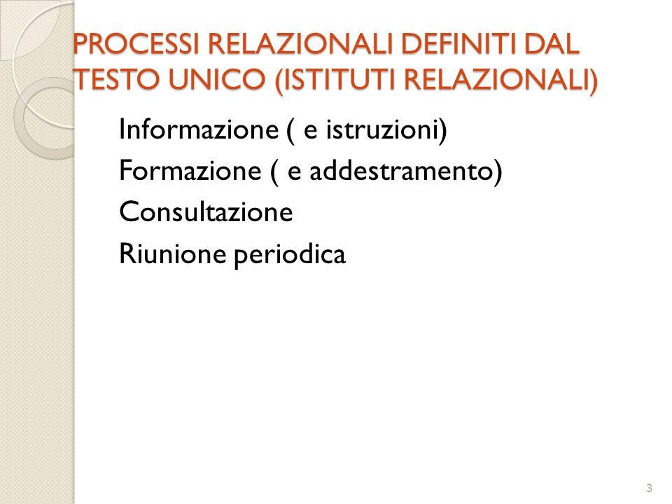 3 PROCESSI RELAZIONALI DEFINITI DAL TESTO UNICO (ISTITUTI RELAZIONALI) Informazione ( e istruzioni) Formazione ( e addestramento) Consultazione Riunione periodica