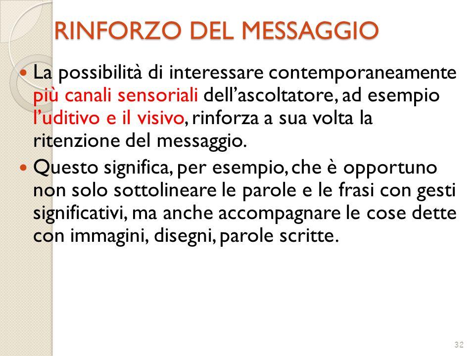 32 RINFORZO DEL MESSAGGIO La possibilità di interessare contemporaneamente più canali sensoriali dell'ascoltatore, ad esempio l'uditivo e il visivo, rinforza a sua volta la ritenzione del messaggio.