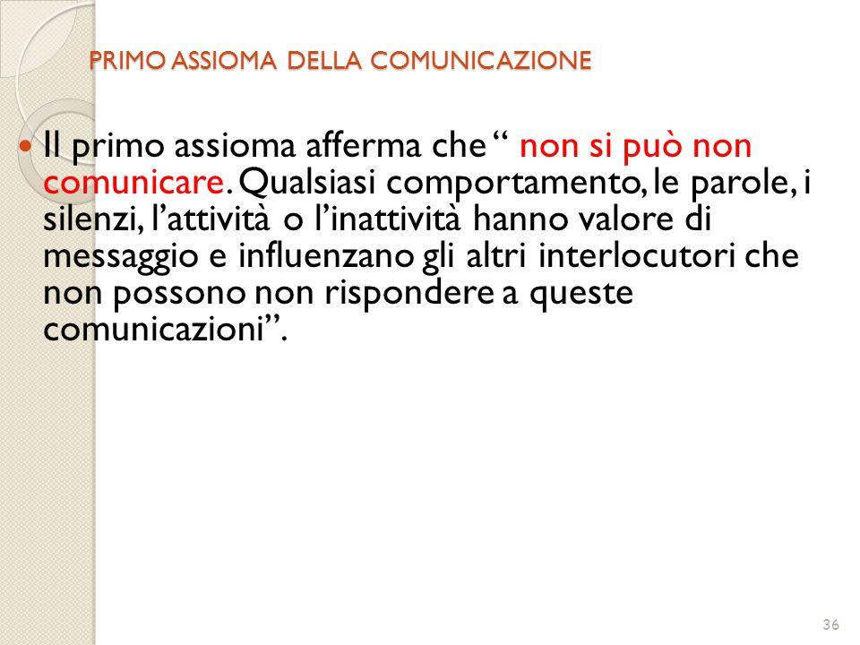 """36 PRIMO ASSIOMA DELLA COMUNICAZIONE Il primo assioma afferma che """" non si può non comunicare. Qualsiasi comportamento, le parole, i silenzi, l'attivi"""