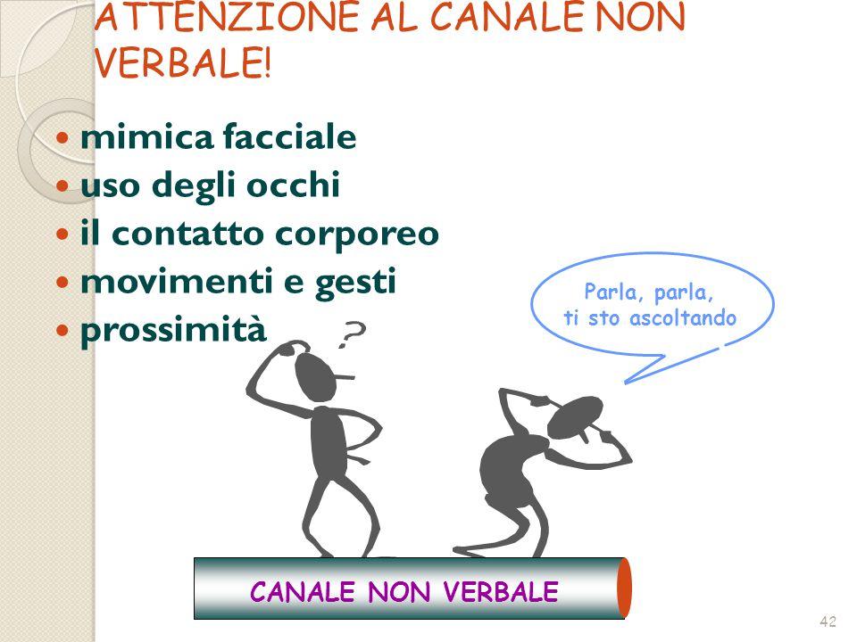 42 mimica facciale uso degli occhi il contatto corporeo movimenti e gesti prossimità ATTENZIONE AL CANALE NON VERBALE.