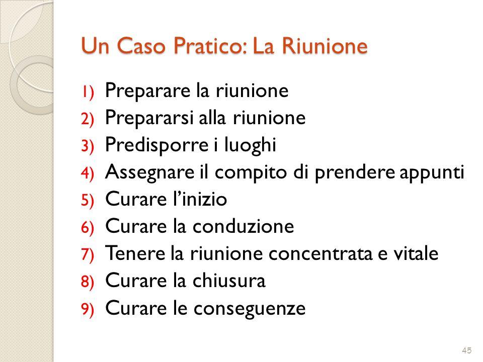 45 Un Caso Pratico: La Riunione 1) Preparare la riunione 2) Prepararsi alla riunione 3) Predisporre i luoghi 4) Assegnare il compito di prendere appun
