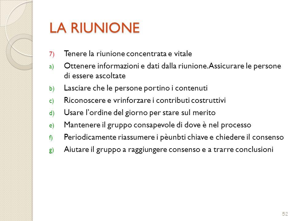 52 LA RIUNIONE 7) Tenere la riunione concentrata e vitale a) Ottenere informazioni e dati dalla riunione.