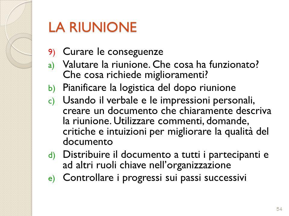 54 LA RIUNIONE 9) Curare le conseguenze a) Valutare la riunione.