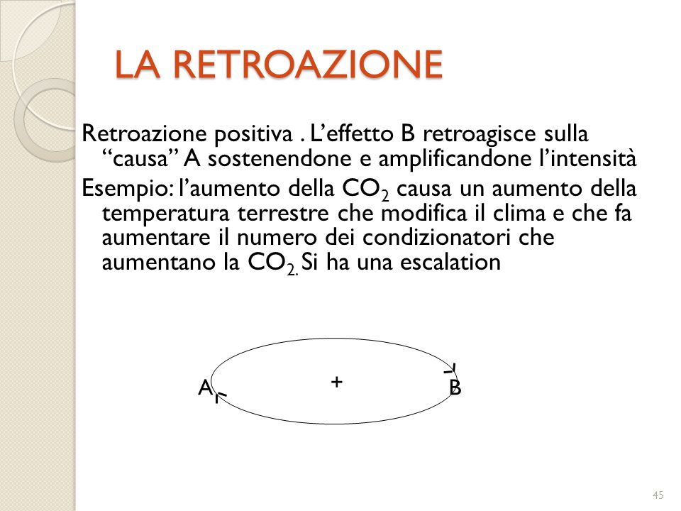 44 RETROAZIONE RETROAZIONE Una catena in cui l'evento a produce l'evento b, e poi b produce c, e c a sua volta determina d, ecc., può sembrare che abb