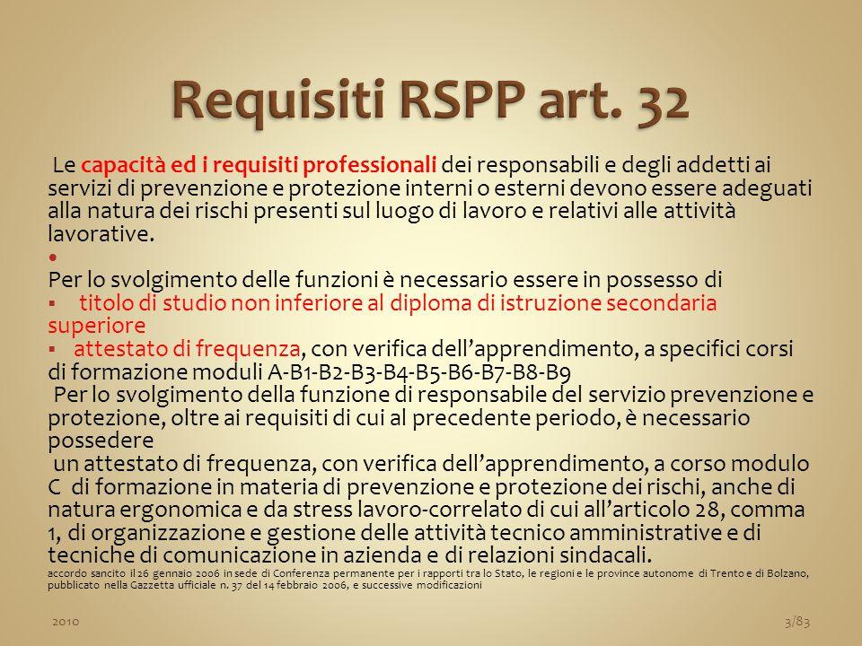 Le capacità ed i requisiti professionali dei responsabili e degli addetti ai servizi di prevenzione e protezione interni o esterni devono essere adegu
