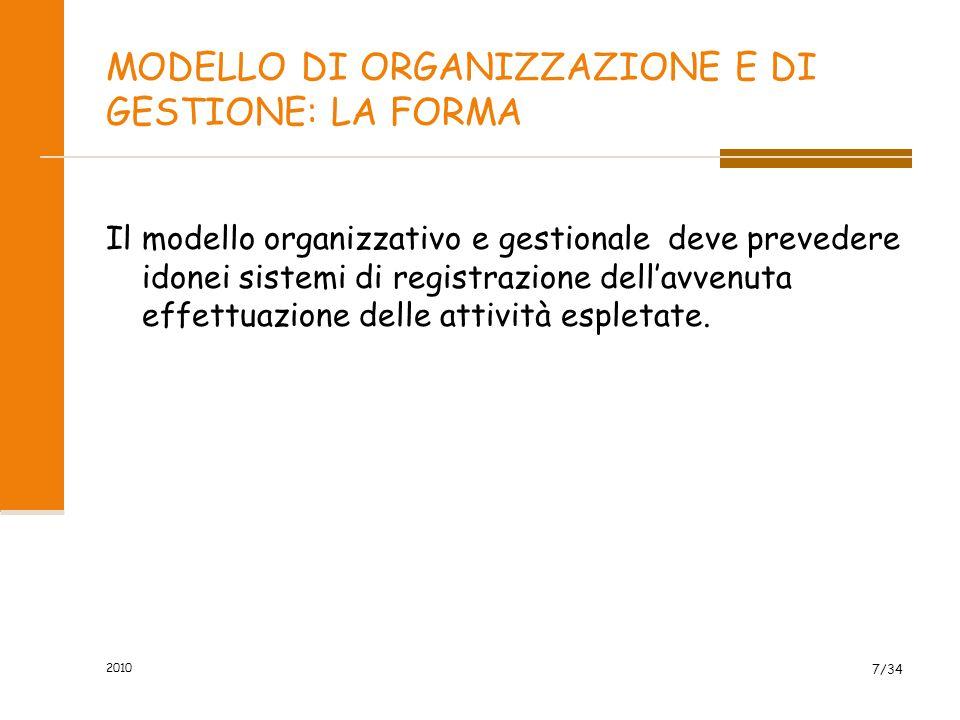 MODELLO DI ORGANIZZAZIONE E DI GESTIONE: LA FORMA Il modello organizzativo e gestionale deve prevedere idonei sistemi di registrazione dell'avvenuta effettuazione delle attività espletate.