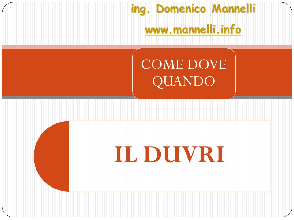 IL DUVRI COME DOVE QUANDO ing. Domenico Mannelli wwww wwww wwww.... mmmm aaaa nnnn nnnn eeee llll llll iiii.... iiii nnnn ffff oooo