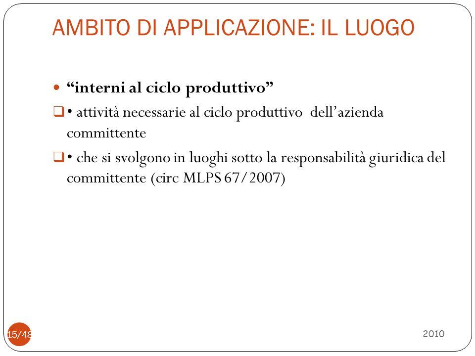 """AMBITO DI APPLICAZIONE: IL LUOGO 2010 15/48 """"interni al ciclo produttivo""""  attività necessarie al ciclo produttivo dell'azienda committente  che si"""