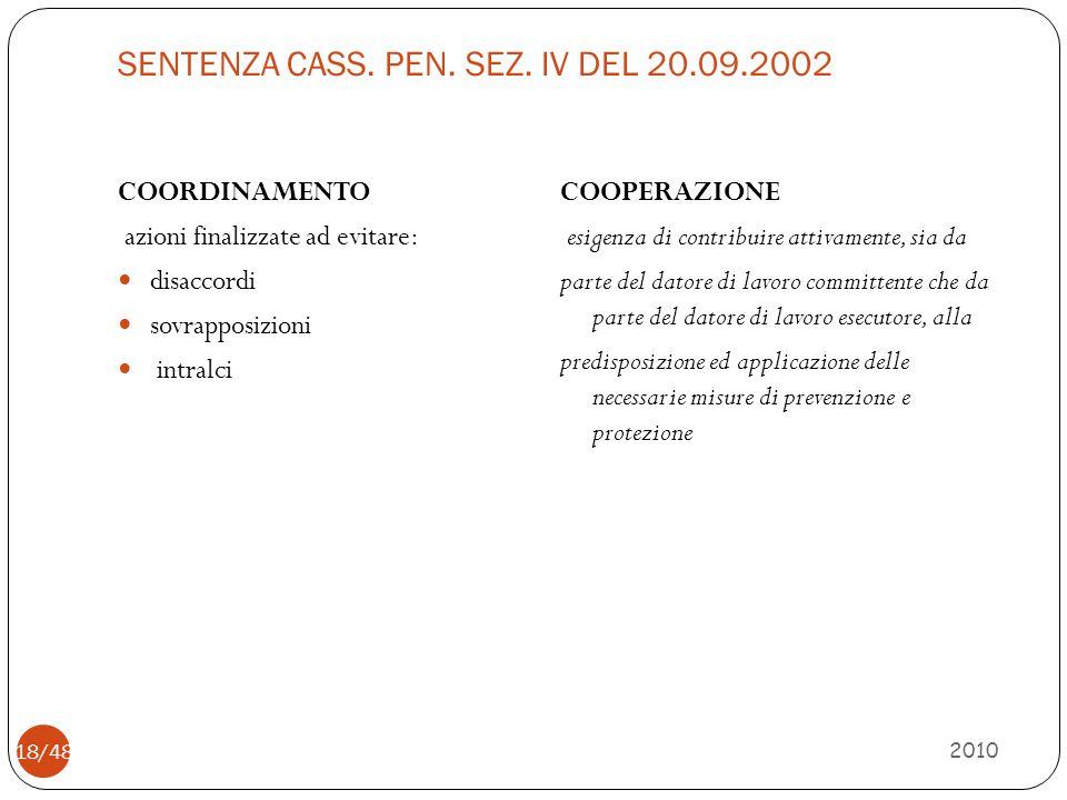 SENTENZA CASS. PEN. SEZ. IV DEL 20.09.2002 2010 18/48 COORDINAMENTO azioni finalizzate ad evitare: disaccordi sovrapposizioni intralci COOPERAZIONE es