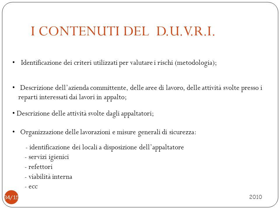 I CONTENUTI DEL D.U.V.R.I. 2010 34/15 Identificazione dei criteri utilizzati per valutare i rischi (metodologia); Descrizione dell'azienda committente