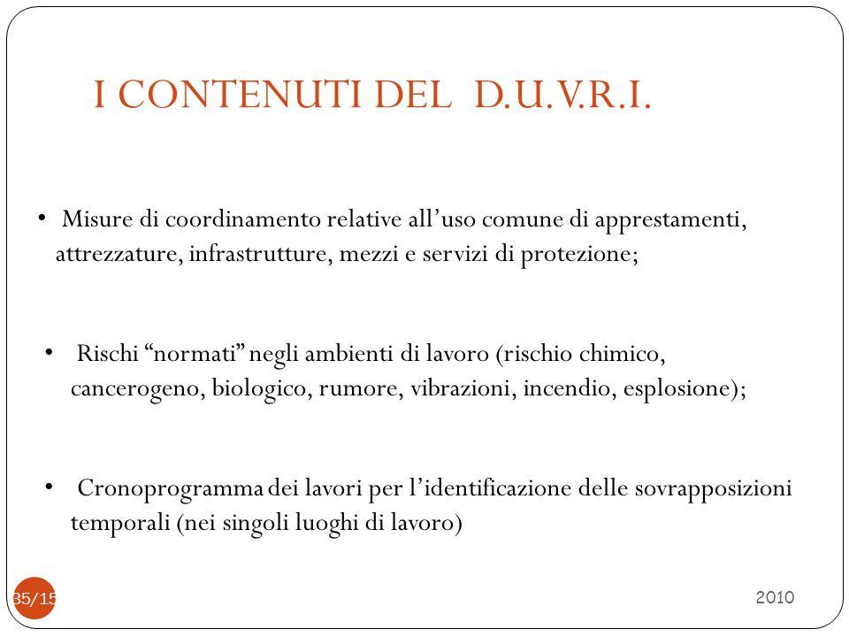 I CONTENUTI DEL D.U.V.R.I. 2010 35/15 Misure di coordinamento relative all'uso comune di apprestamenti, attrezzature, infrastrutture, mezzi e servizi