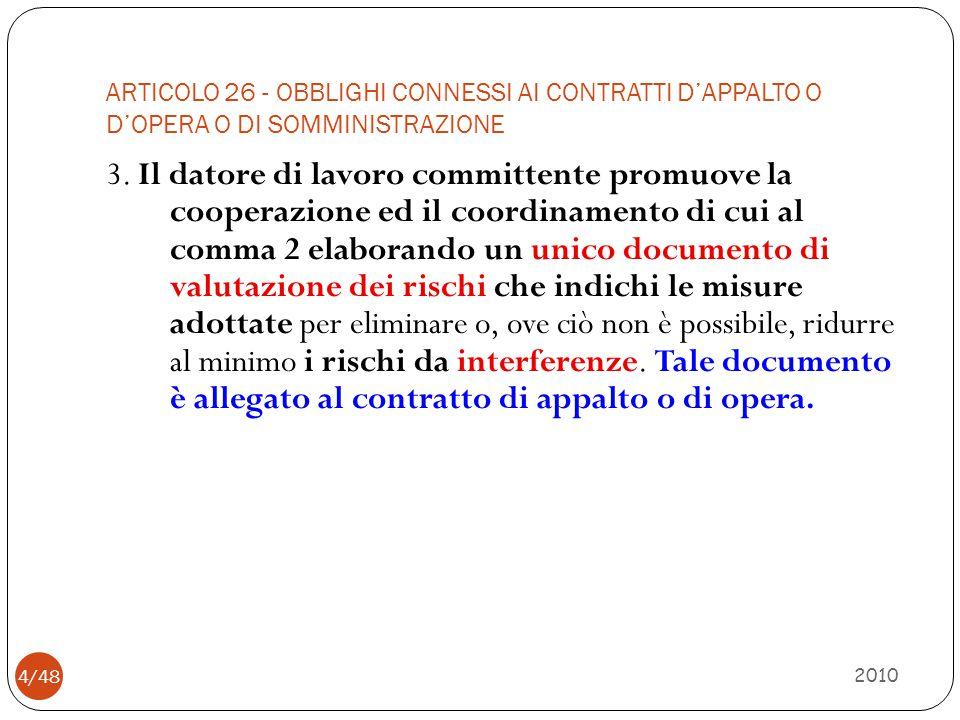 ARTICOLO 26 - OBBLIGHI CONNESSI AI CONTRATTI D'APPALTO O D'OPERA O DI SOMMINISTRAZIONE 2010 4/48 3. Il datore di lavoro committente promuove la cooper