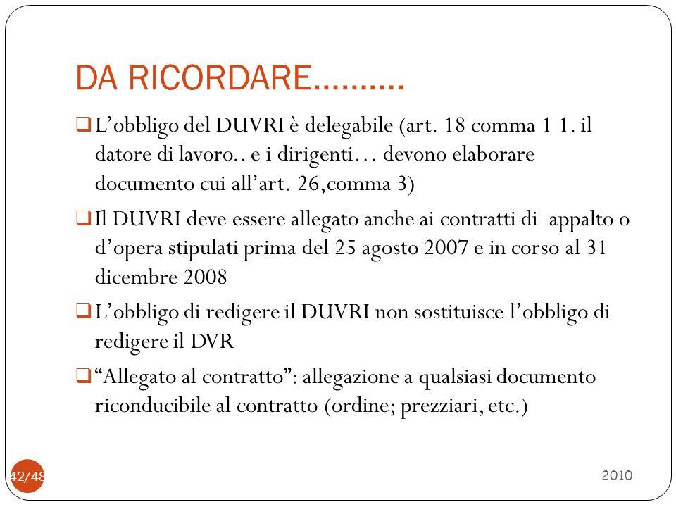 DA RICORDARE………. 2010 42/48  L'obbligo del DUVRI è delegabile (art. 18 comma 1 1. il datore di lavoro.. e i dirigenti… devono elaborare documento cui