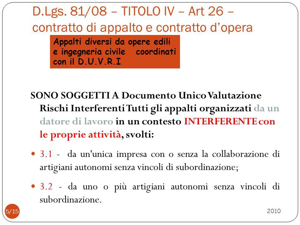 Appalti diversi da opere edili e ingegneria civile coordinati con il D.U.V.R.I. D.Lgs. 81/08 – TITOLO IV – Art 26 – contratto di appalto e contratto d