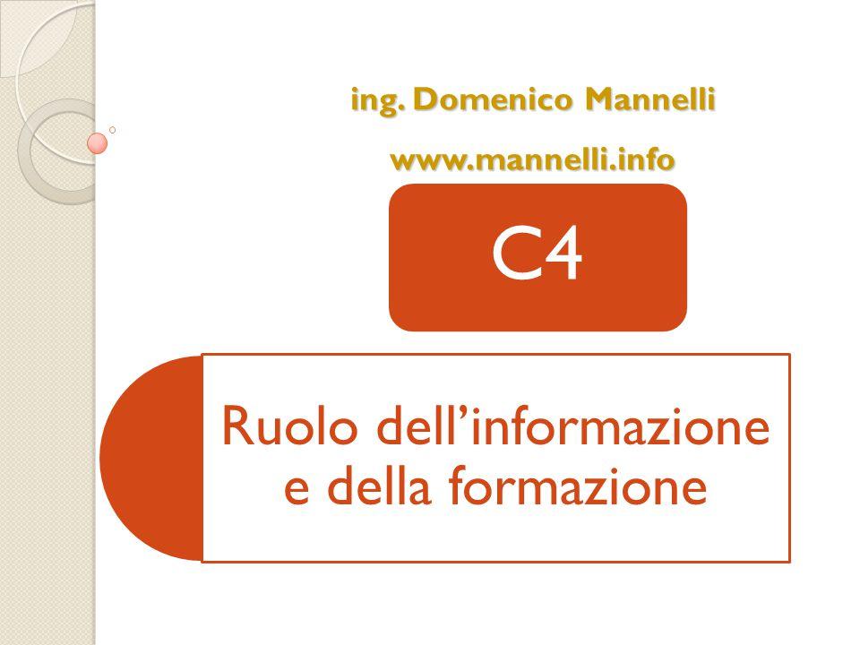 Ruolo dell'informazione e della formazione C4 ing. Domenico Mannelli www.mannelli.info