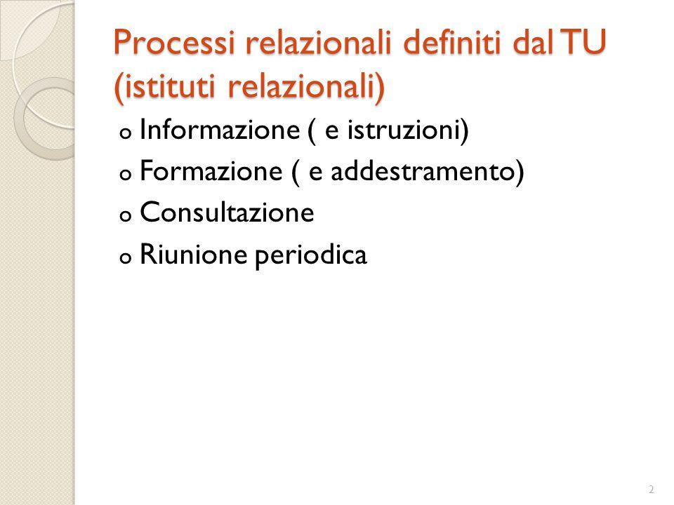 2 Processi relazionali definiti dal TU (istituti relazionali) o Informazione ( e istruzioni) o Formazione ( e addestramento) o Consultazione o Riunion