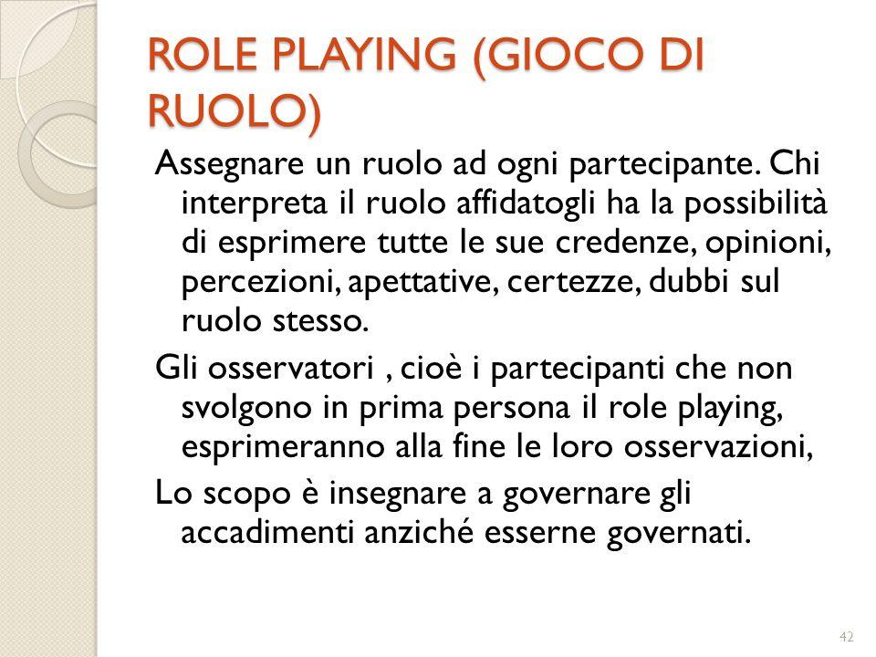 42 ROLE PLAYING (GIOCO DI RUOLO) Assegnare un ruolo ad ogni partecipante. Chi interpreta il ruolo affidatogli ha la possibilità di esprimere tutte le