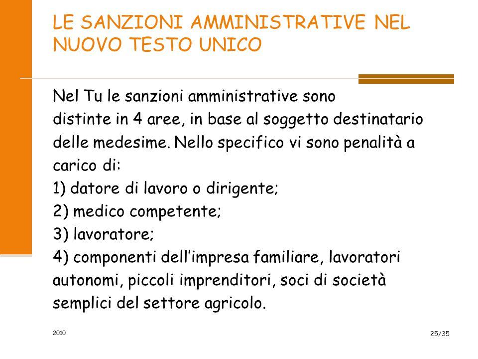 LE SANZIONI AMMINISTRATIVE NEL NUOVO TESTO UNICO Nel Tu le sanzioni amministrative sono distinte in 4 aree, in base al soggetto destinatario delle med