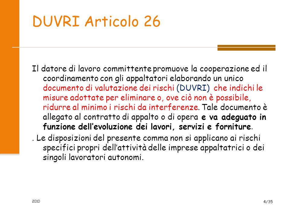 2010 4/35 DUVRI Articolo 26 Il datore di lavoro committente promuove la cooperazione ed il coordinamento con gli appaltatori elaborando un unico docum