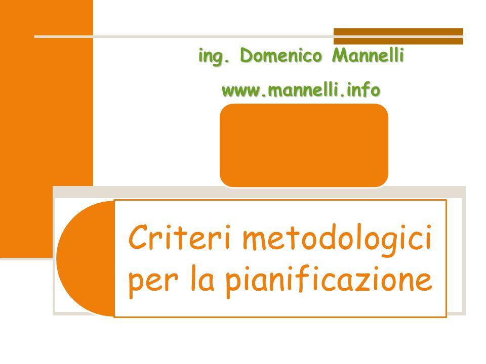 Criteri metodologici per la pianificazioneing. Domenico Mannelli www.mannelli.info