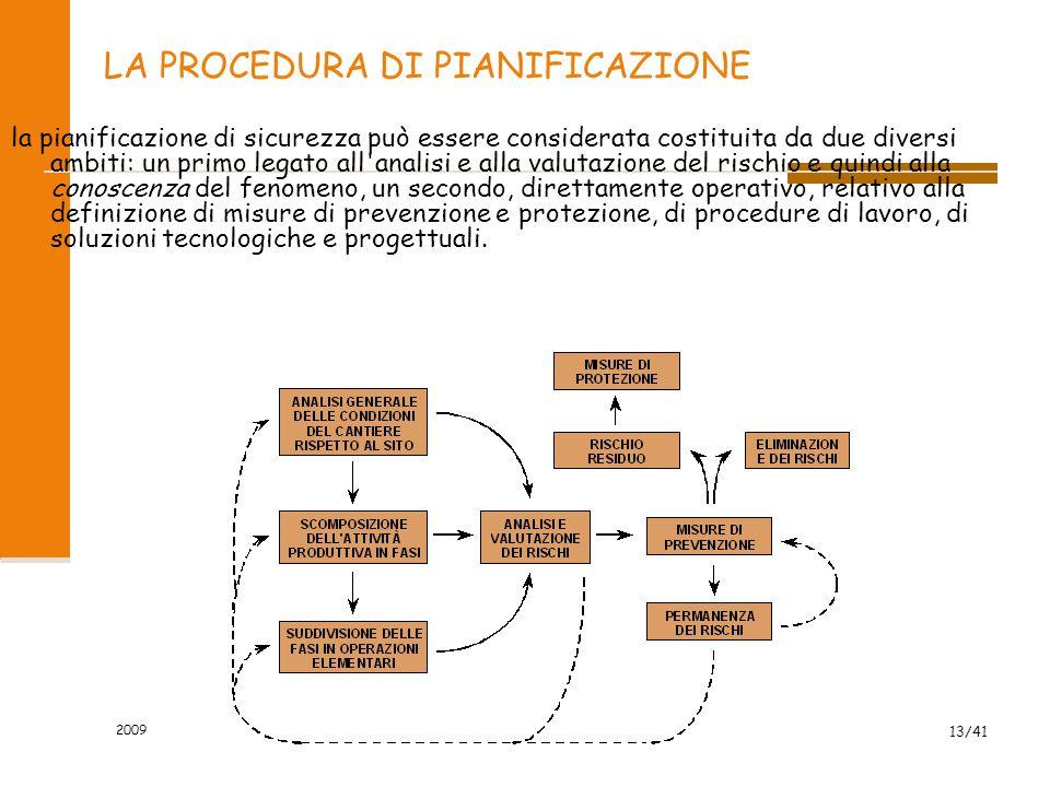 2009 13/41 LA PROCEDURA DI PIANIFICAZIONE la pianificazione di sicurezza può essere considerata costituita da due diversi ambiti: un primo legato all'