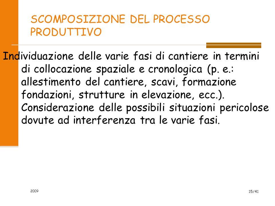 2009 15/41 SCOMPOSIZIONE DEL PROCESSO PRODUTTIVO Individuazione delle varie fasi di cantiere in termini di collocazione spaziale e cronologica (p. e.: