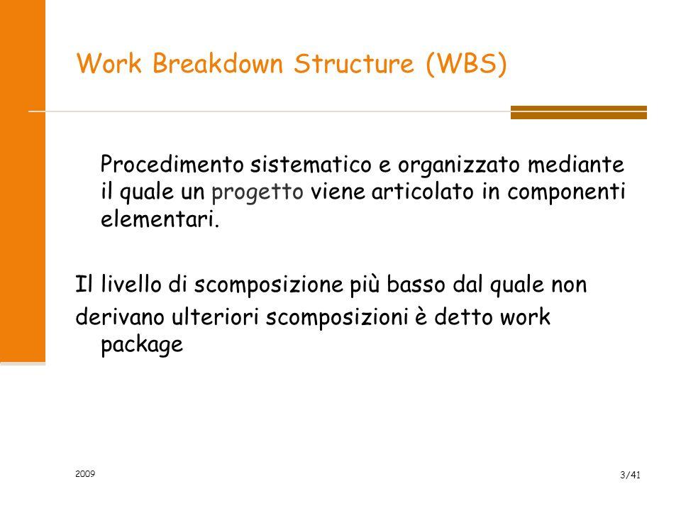 Work Breakdown Structure (WBS) Procedimento sistematico e organizzato mediante il quale un progetto viene articolato in componenti elementari. Il live