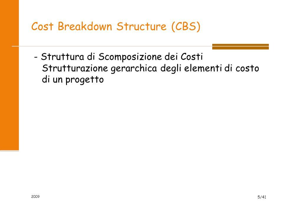 Cost Breakdown Structure (CBS) - Struttura di Scomposizione dei Costi Strutturazione gerarchica degli elementi di costo di un progetto 2009 5/41