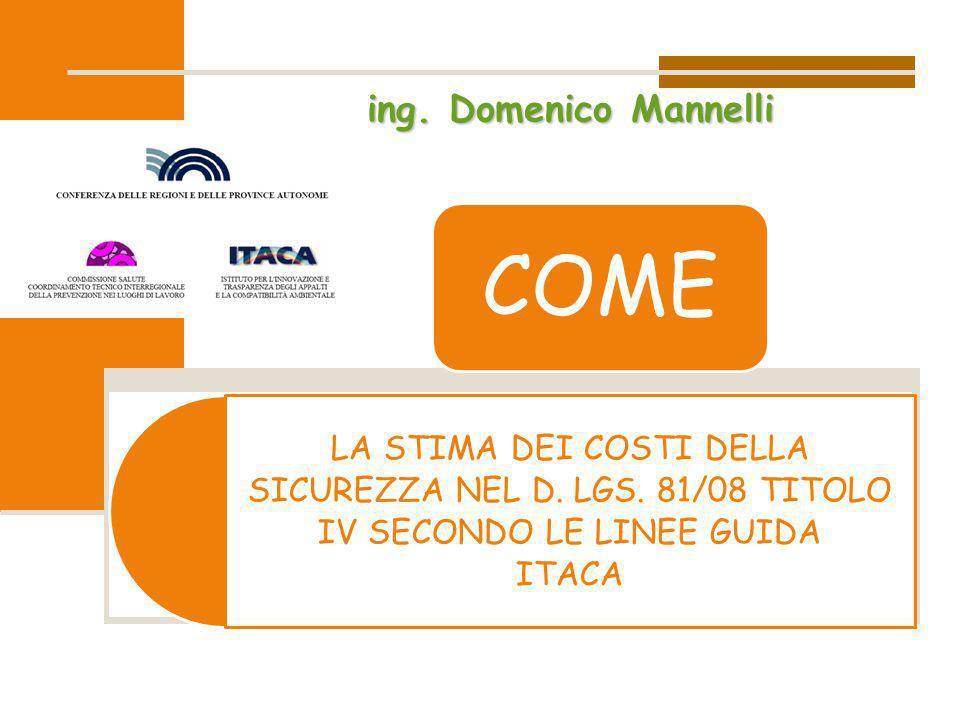 LA STIMA DEI COSTI DELLA SICUREZZA NEL D. LGS. 81/08 TITOLO IV SECONDO LE LINEE GUIDA ITACA COME ing. Domenico Mannelli