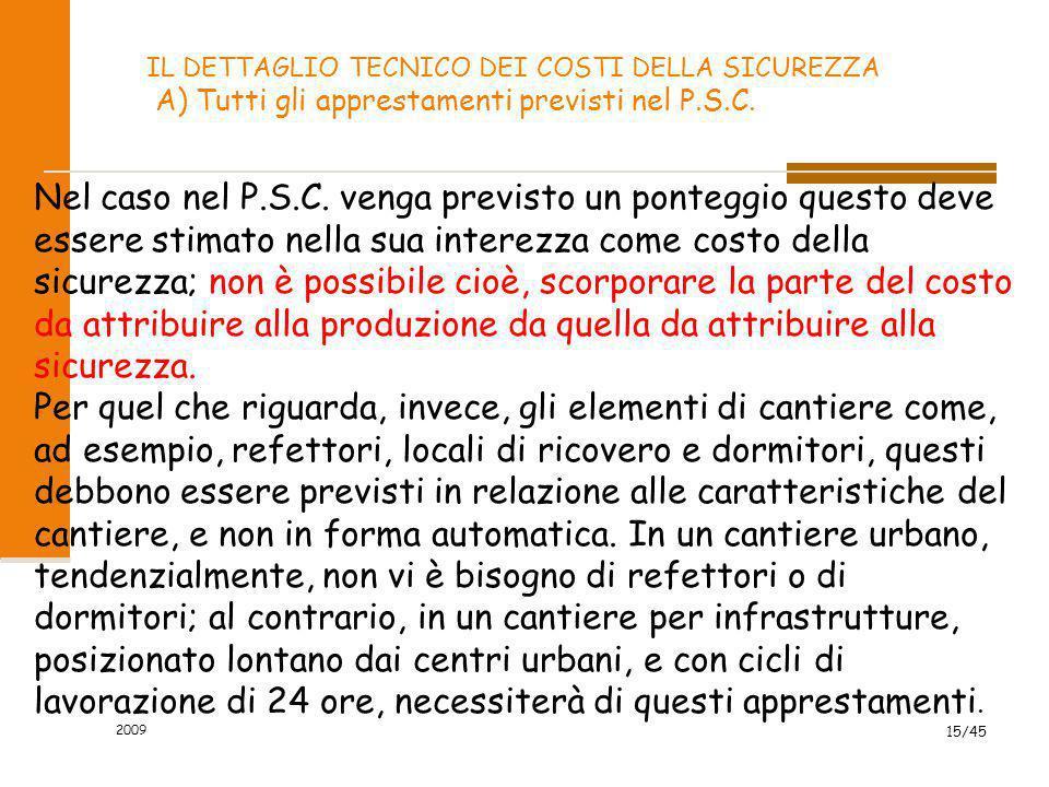 2009 15/45 IL DETTAGLIO TECNICO DEI COSTI DELLA SICUREZZA A) Tutti gli apprestamenti previsti nel P.S.C. Nel caso nel P.S.C. venga previsto un pontegg