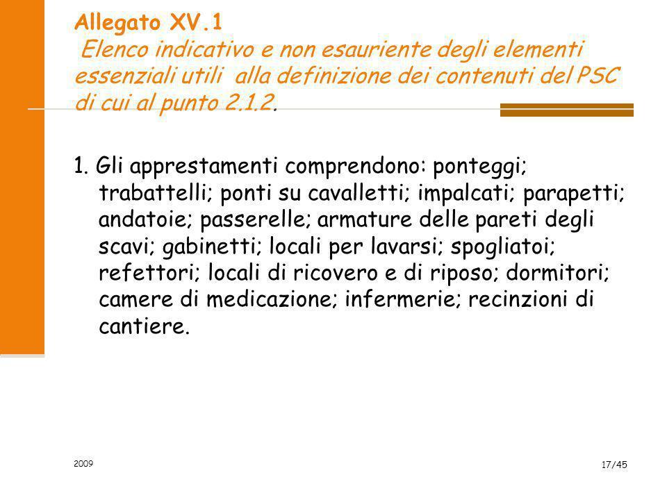 2009 17/45 Allegato XV.1 Elenco indicativo e non esauriente degli elementi essenziali utili alla definizione dei contenuti del PSC di cui al punto 2.1