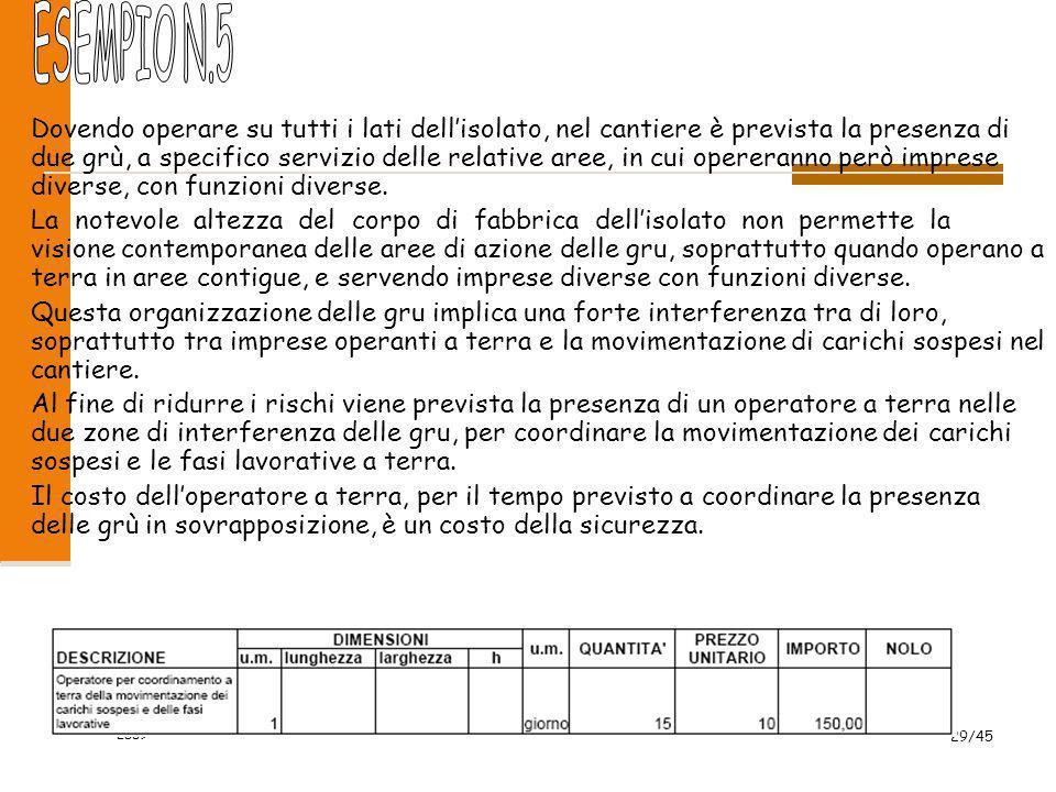 2009 29/45 Dovendo operare su tutti i lati dell'isolato, nel cantiere è prevista la presenza di due grù, a specifico servizio delle relative aree, in