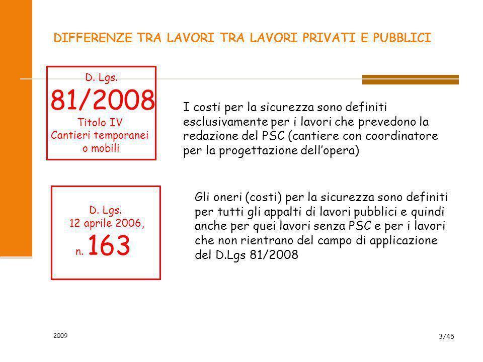 2009 3/45 DIFFERENZE TRA LAVORI TRA LAVORI PRIVATI E PUBBLICI I costi per la sicurezza sono definiti esclusivamente per i lavori che prevedono la reda
