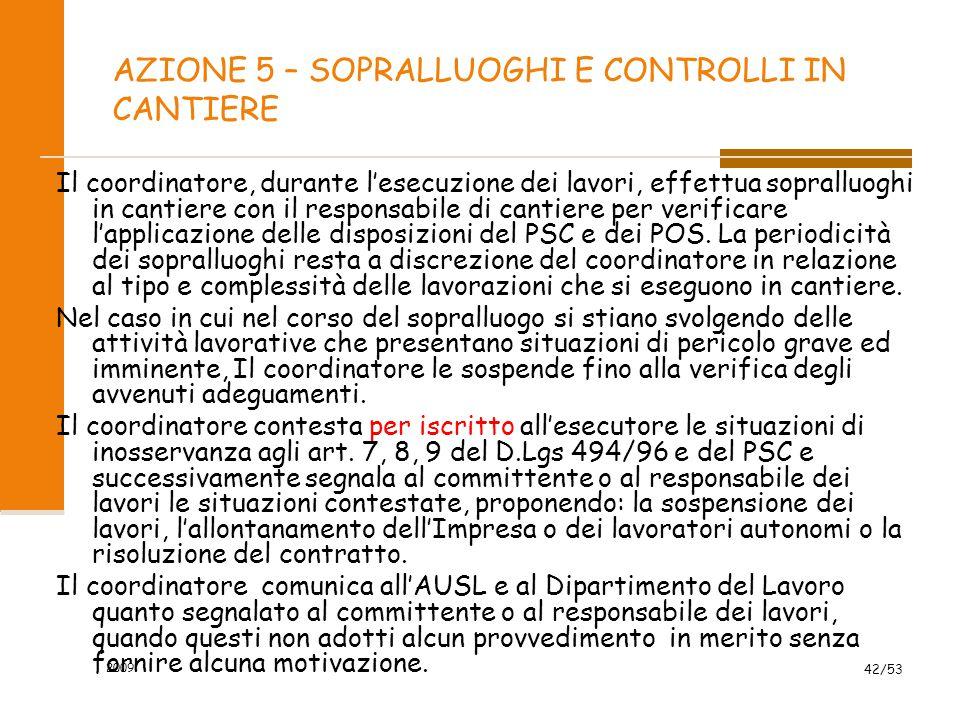 AZIONE 5 – SOPRALLUOGHI E CONTROLLI IN CANTIERE Il coordinatore, durante l'esecuzione dei lavori, effettua sopralluoghi in cantiere con il responsabil