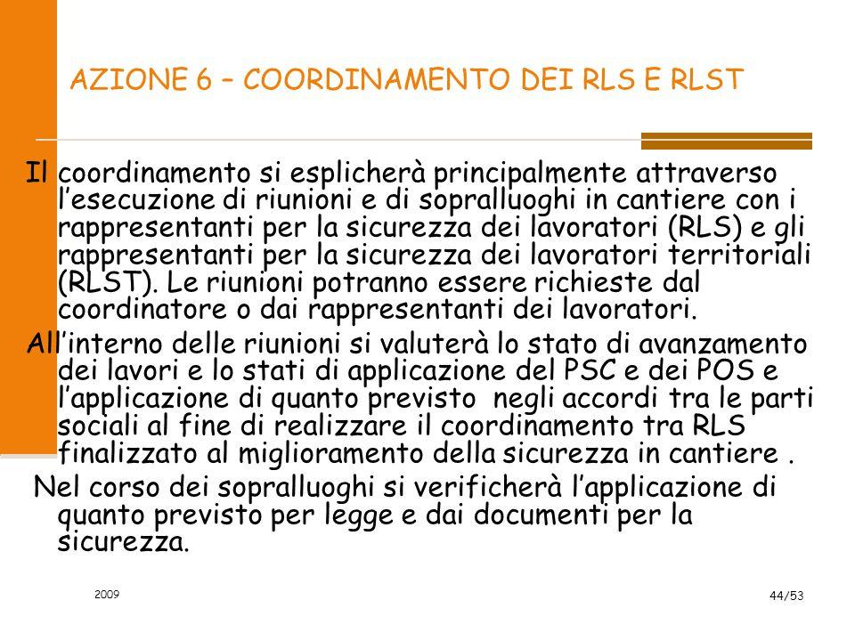 AZIONE 6 – COORDINAMENTO DEI RLS E RLST Il coordinamento si esplicherà principalmente attraverso l'esecuzione di riunioni e di sopralluoghi in cantier