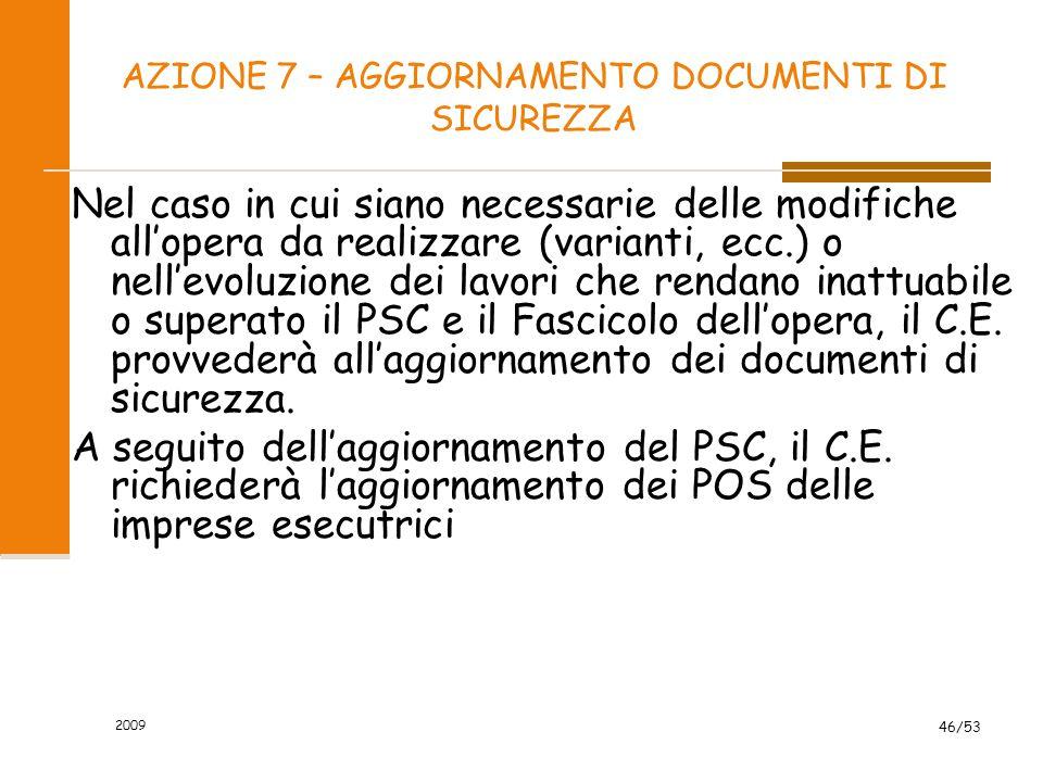 AZIONE 7 – AGGIORNAMENTO DOCUMENTI DI SICUREZZA Nel caso in cui siano necessarie delle modifiche all'opera da realizzare (varianti, ecc.) o nell'evolu