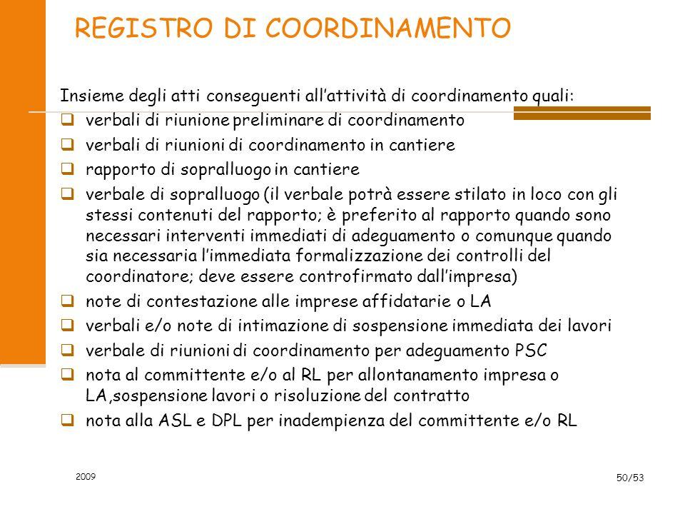 REGISTRO DI COORDINAMENTO Insieme degli atti conseguenti all'attività di coordinamento quali:  verbali di riunione preliminare di coordinamento  ver