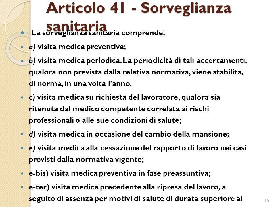 Articolo 41 - Sorveglianza sanitaria La sorveglianza sanitaria comprende: a) visita medica preventiva; b) visita medica periodica.