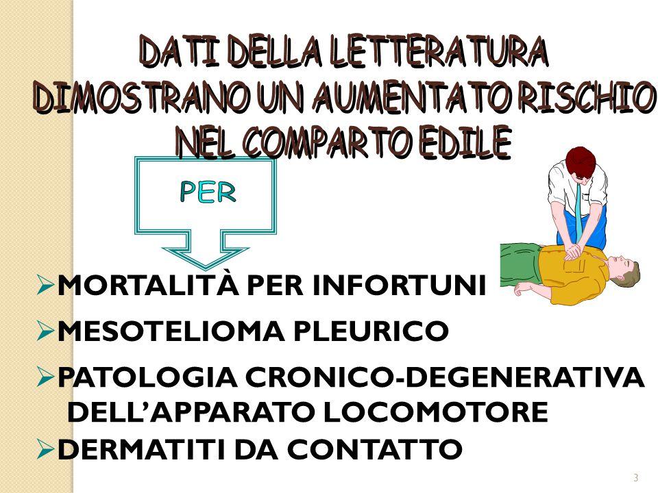  MORTALITÀ PER INFORTUNI  MESOTELIOMA PLEURICO  PATOLOGIA CRONICO-DEGENERATIVA DELL'APPARATO LOCOMOTORE  DERMATITI DA CONTATTO 3