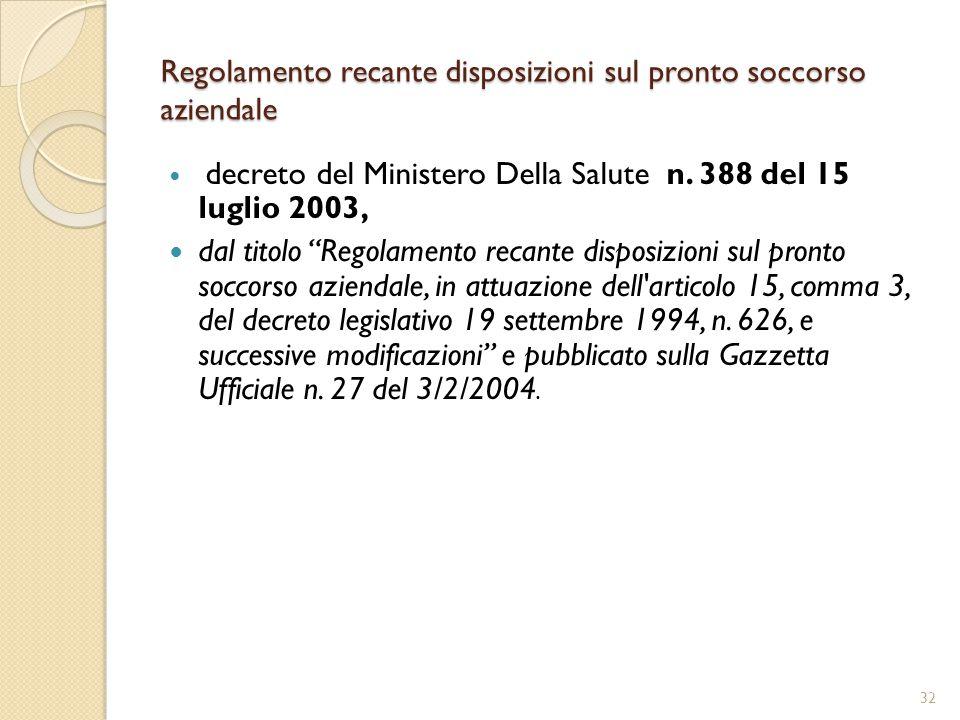 Regolamento recante disposizioni sul pronto soccorso aziendale decreto del Ministero Della Salute n.