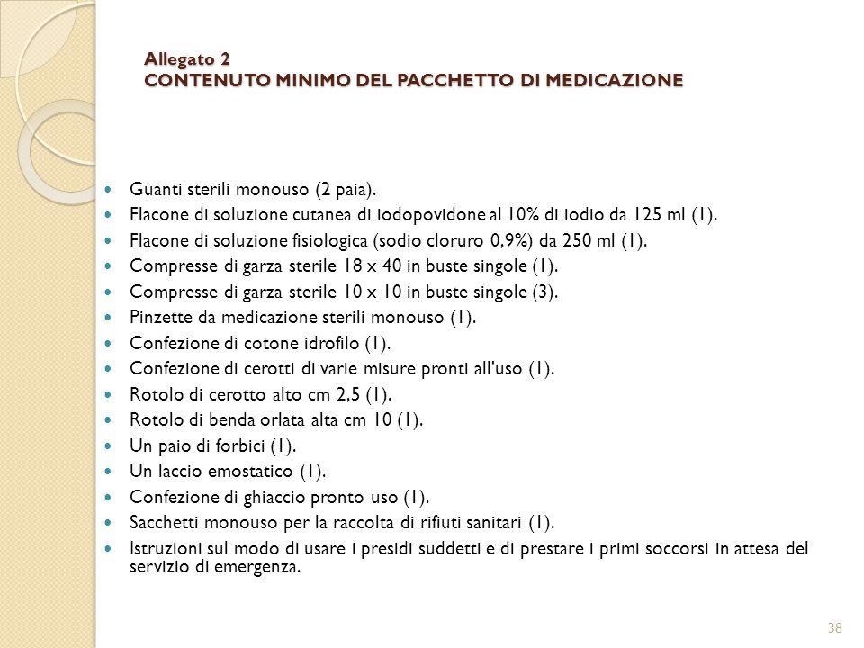 Allegato 2 CONTENUTO MINIMO DEL PACCHETTO DI MEDICAZIONE Guanti sterili monouso (2 paia).