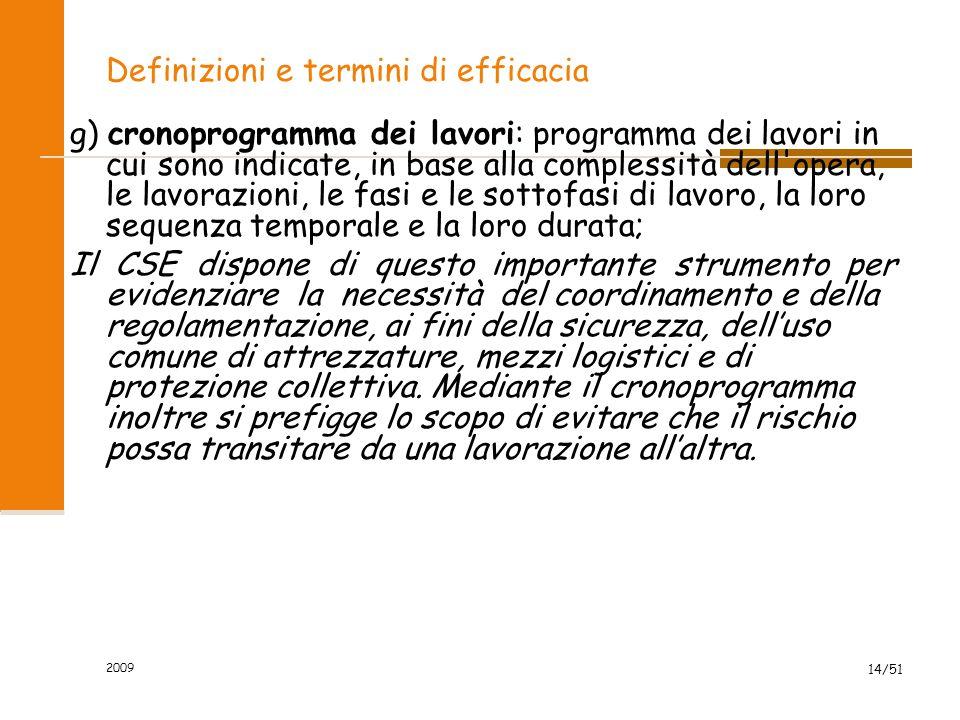 2009 14/51 Definizioni e termini di efficacia g) cronoprogramma dei lavori: programma dei lavori in cui sono indicate, in base alla complessità dell'o